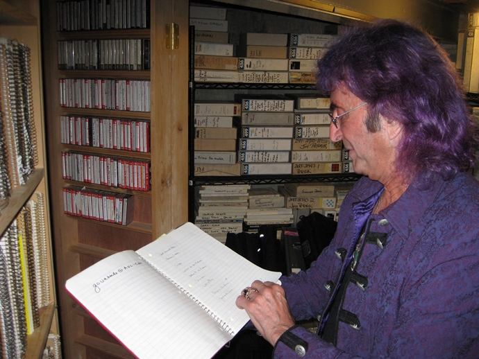Jim Peterik with notebooks and recordings of musical ideas