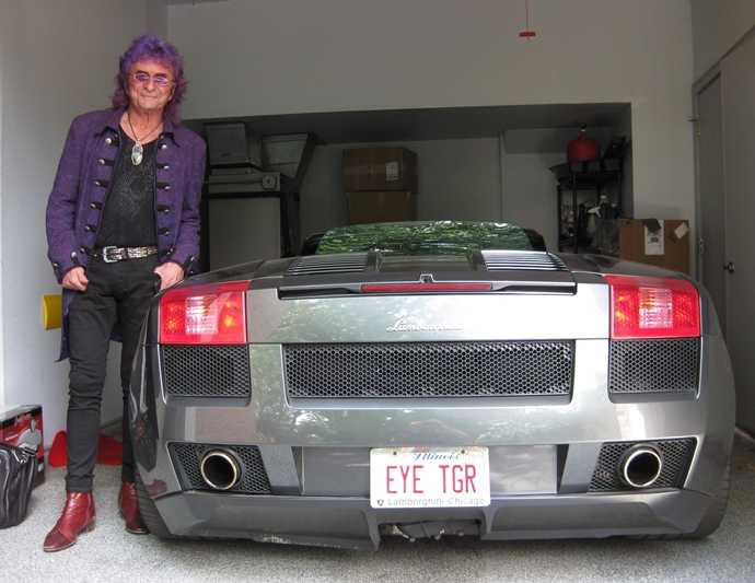 Jim Peterik with Lamborghini sports car