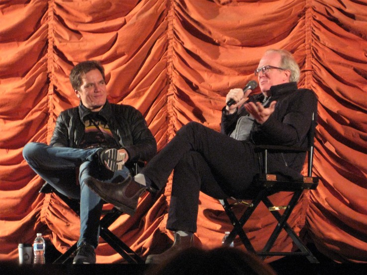 Actor Michael Shannon, left, and playwright Tracy Letts discuss 2007 movie 'Bug' at Music Box Theatre in Chicago, January 9 2010. Moresby Press photo